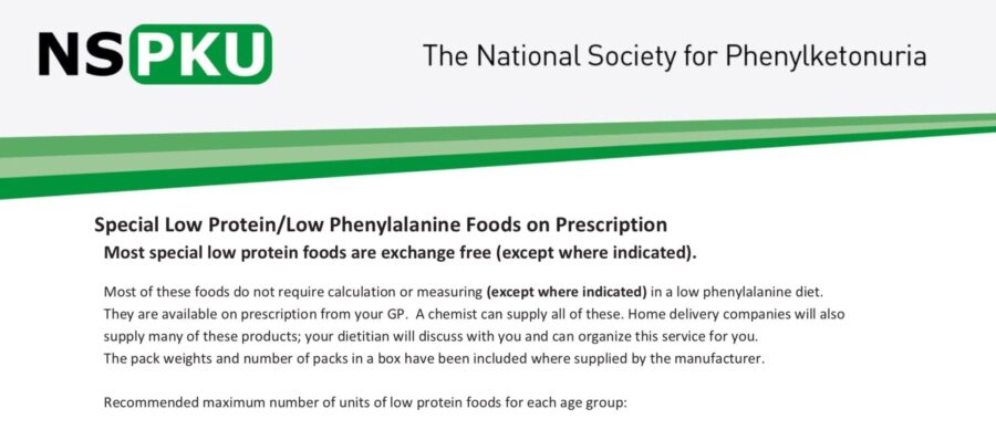 Low Protein Foods available on prescription for patients with PKU