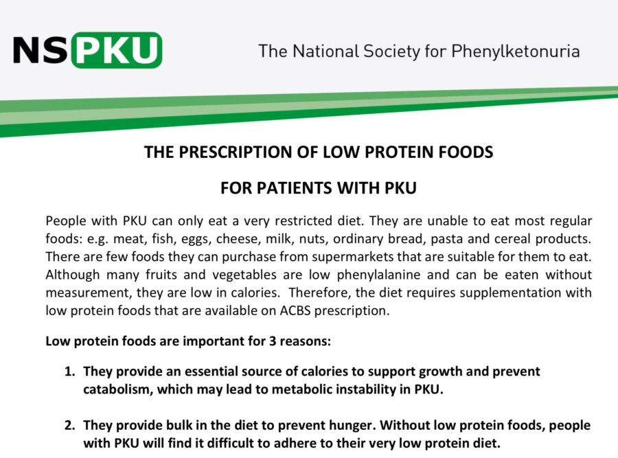 Unit Guidelines for the Prescription of Low Protein Foods